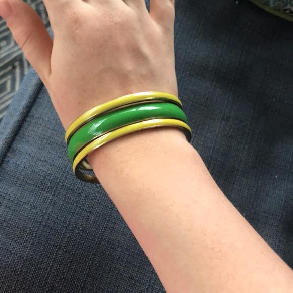 Green and yellow bangle bracelets